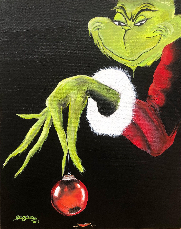 Grinch...acrylic...16X20..2018 Christmas ornaments