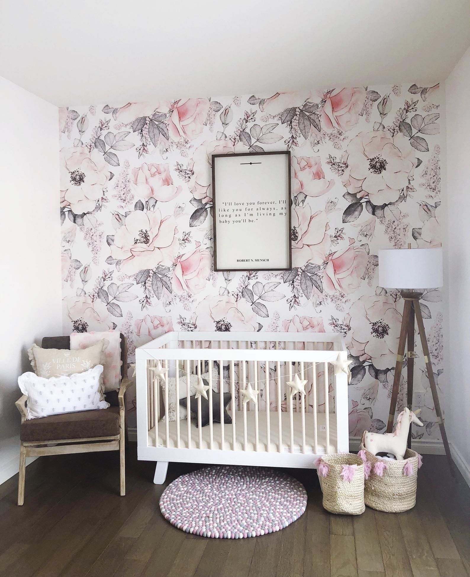 Snowy Rose Giant Pink And White Peony Removable Wallpaper Etsy In 2020 Baby Girl Wallpaper Nursery Wallpaper Girl Room