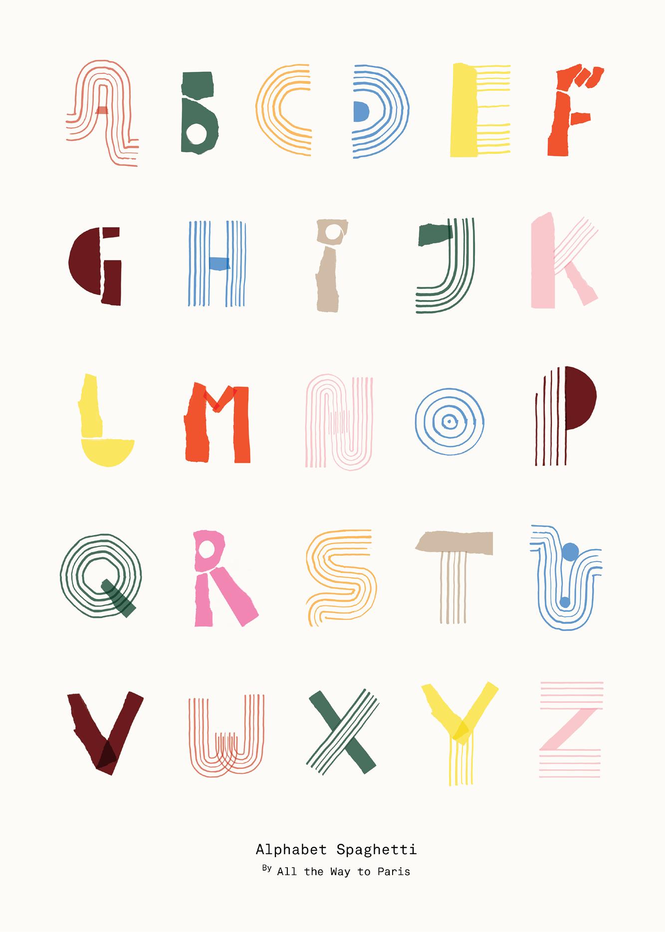 Alphabet Spaghetti colourful (English) in 2020 Apfel