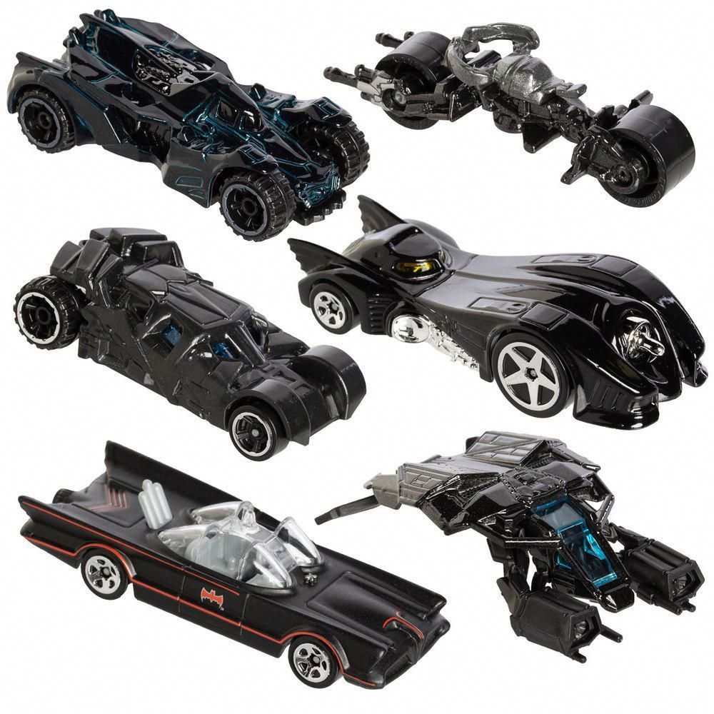 6pc Hot Wheels Cars Set DC Comics Batman Batmobile Die