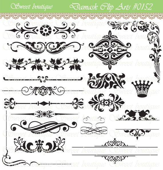 Antique Scroll Line: Text Dividers Digital Clipart Page Decoration Ornate Set