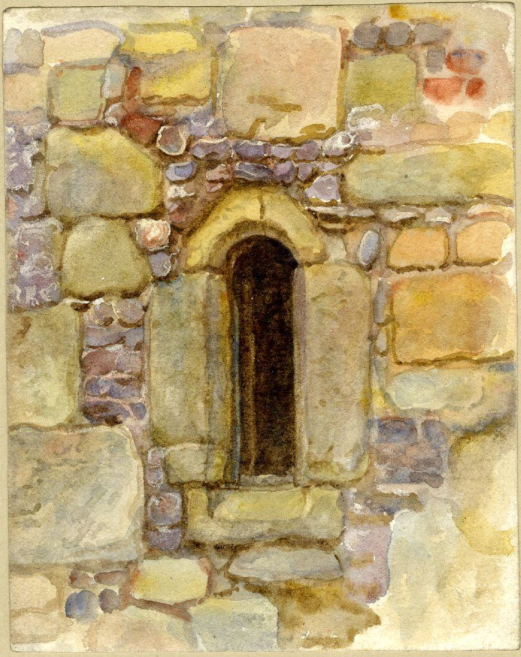 Helen Allingham Study Of An Arched Window In A Stone Wall