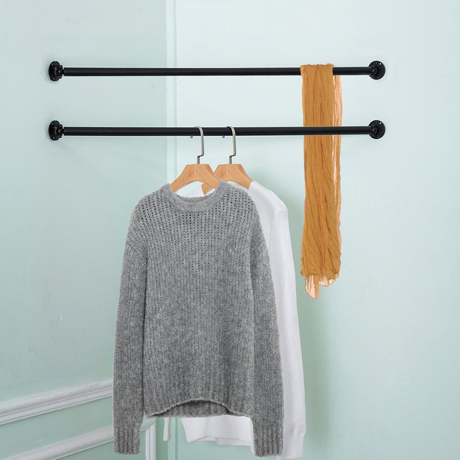 Wall Mounted Metal Corner Clothing Hanging Bar Garment Racks Clothes Rack Design Hanging Bar