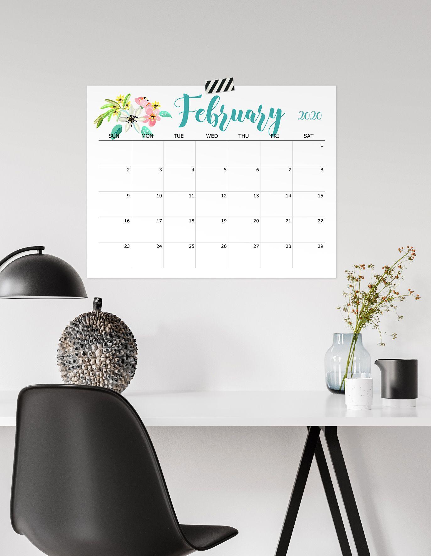 Printable 2020 Office Calendar Floral Desk Calendar For School