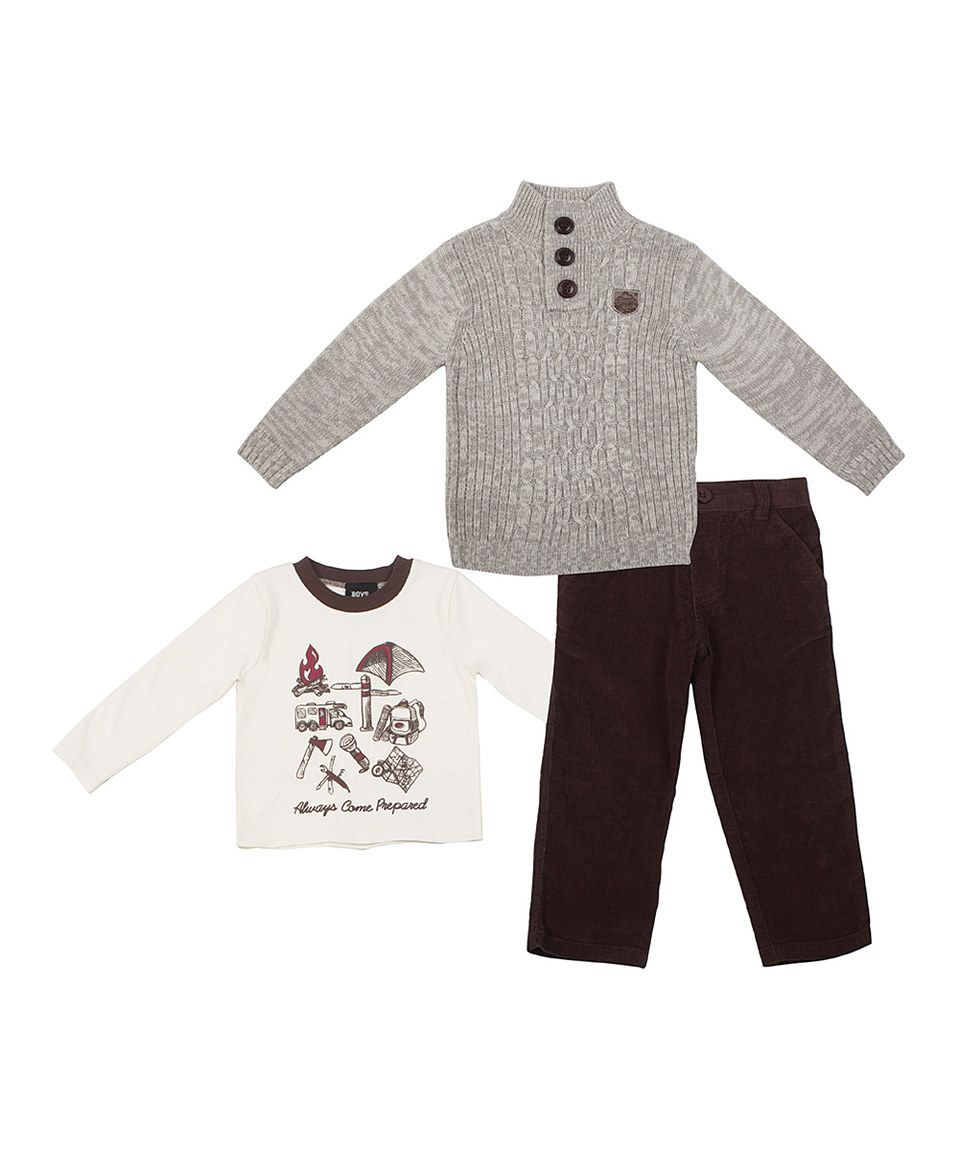 Another great find on #zulily! Natural Cable-Knit Sweater Set - Infant, Toddler & Boys by Boys Rock #zulilyfinds