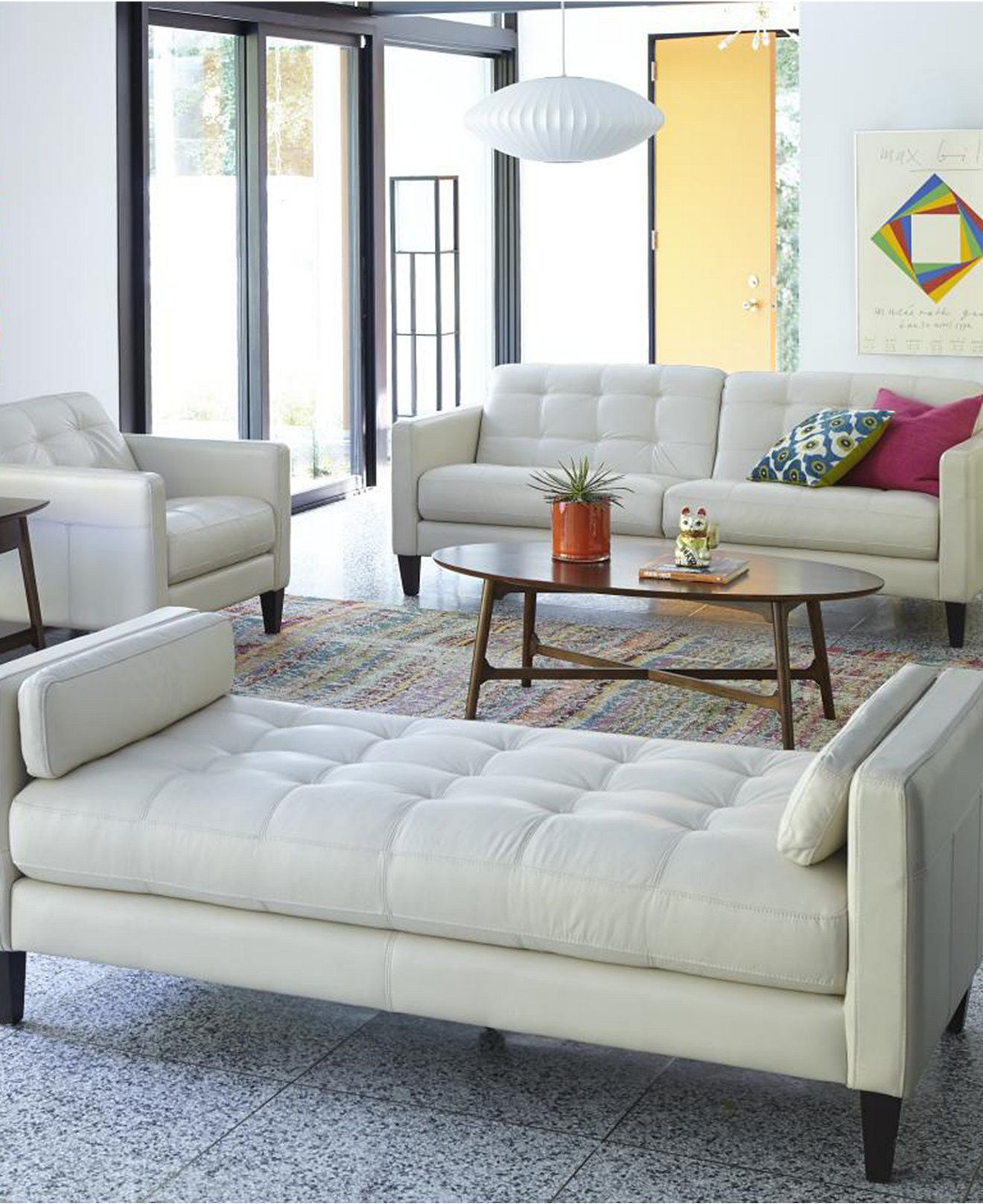 Milan Leather Sofa Living Room Furniture Collection - Furniture ...