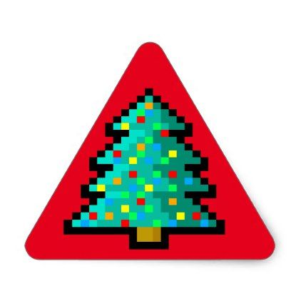 Pixel Art Christmas Tree Green With Decorations Triangle Sticker Christmas Stickers Xmas Eve Custom Holiday