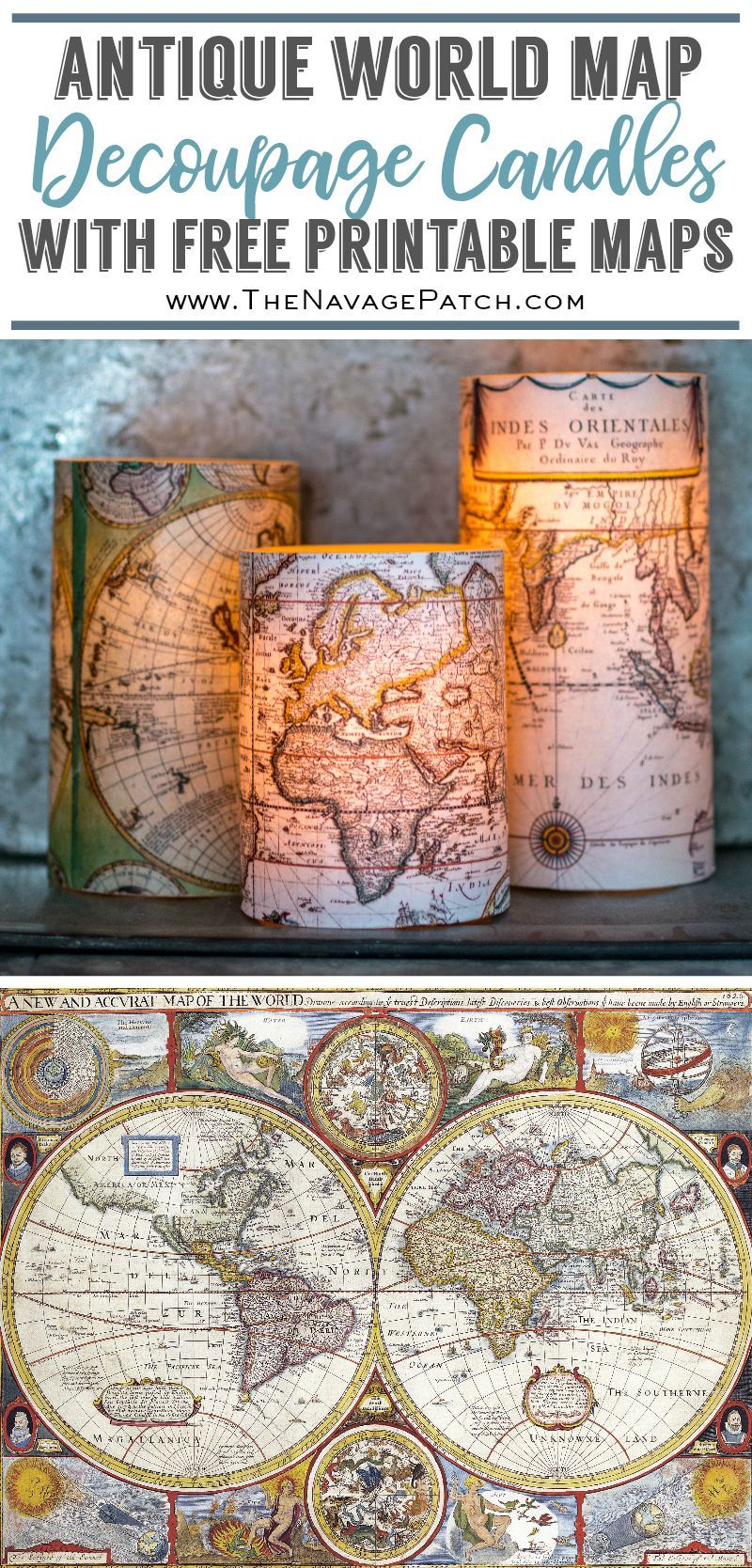 Decoupage Candles with Antique World Maps (FREE Printables!) | DIY ...