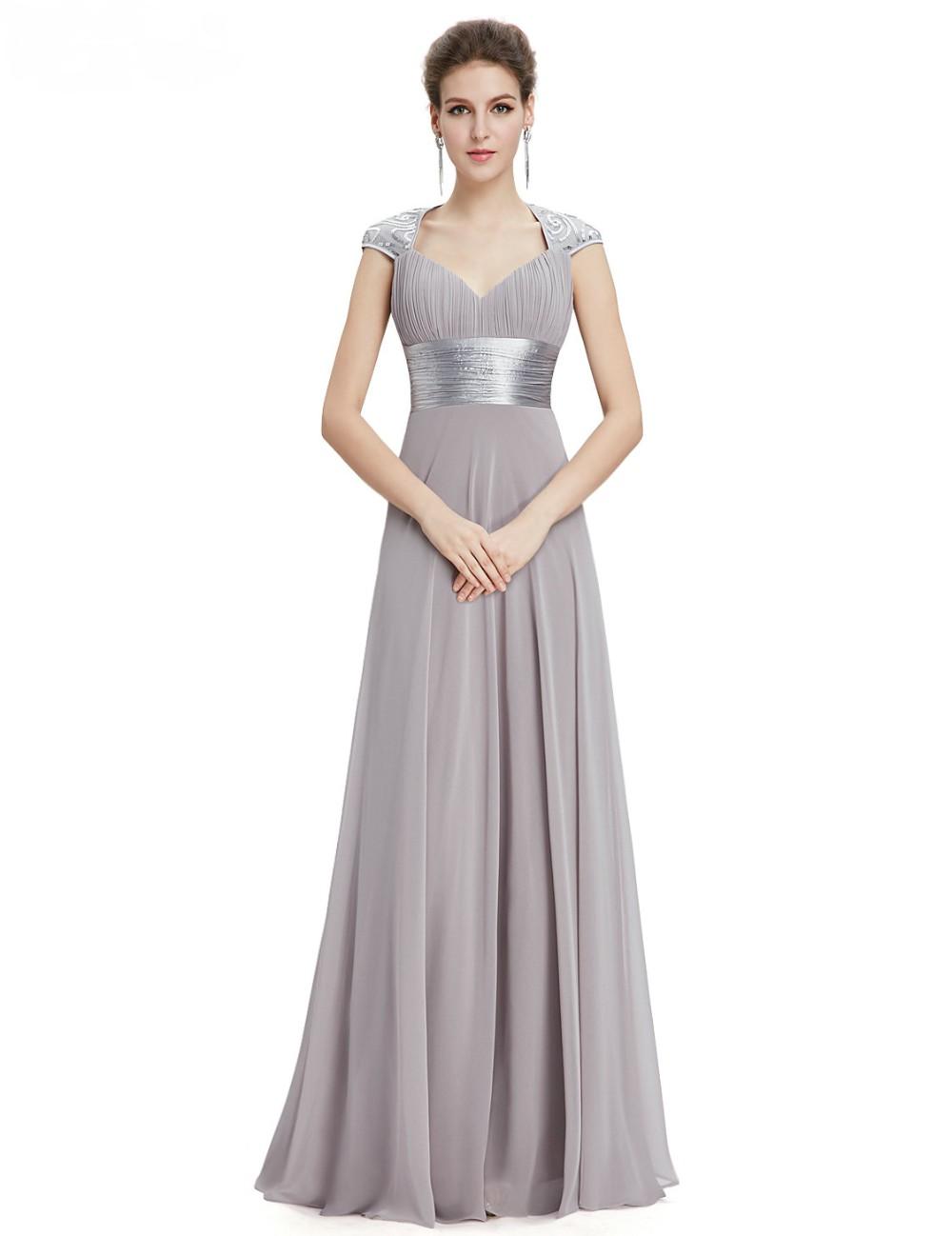 Vneck sequins chiffon ruffles empire line evening bridesmaid dress