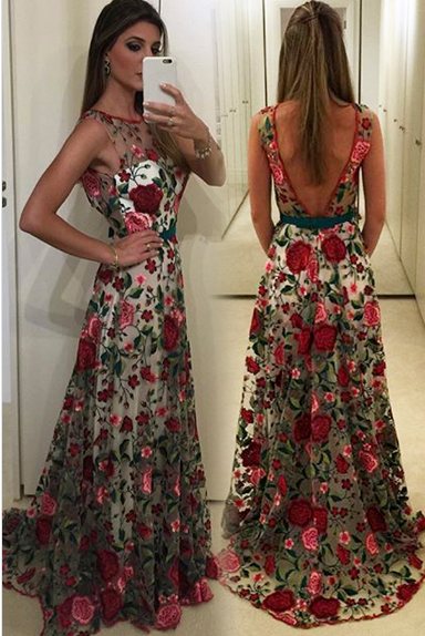 Round Neck Prom Dresses,Sleeveless Prom Dress,Unique Prom Dress,V ...