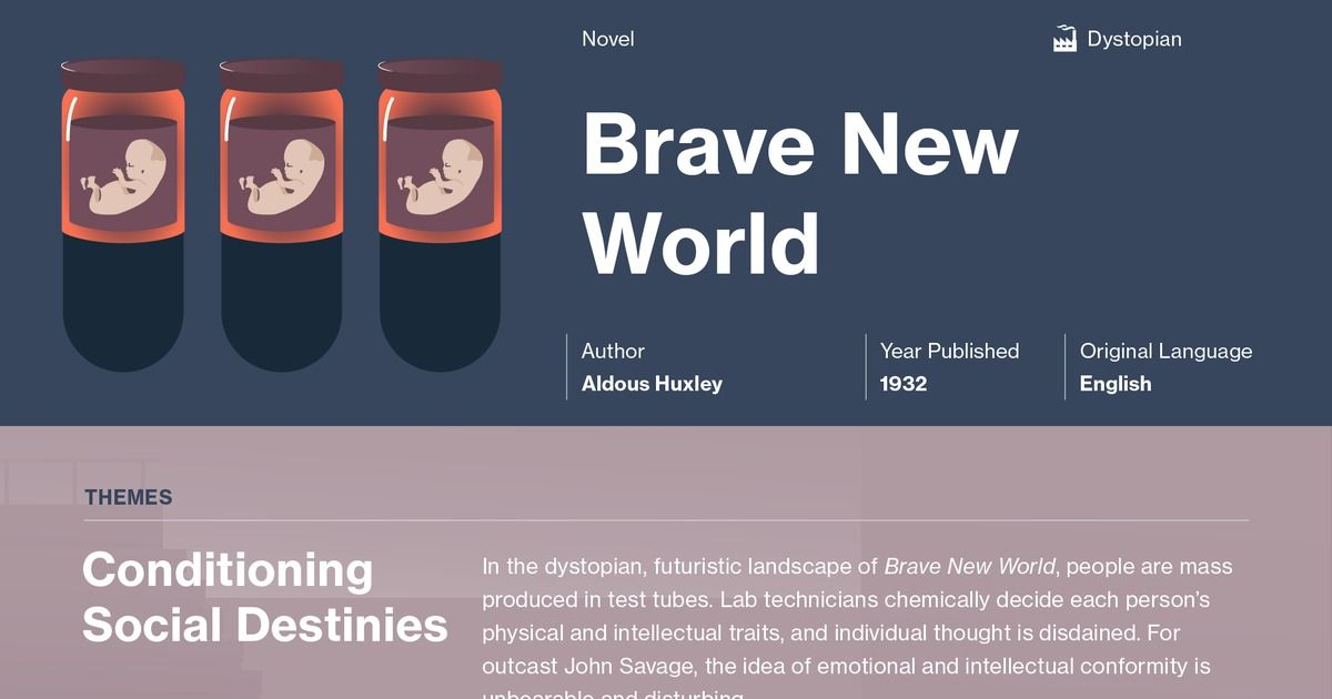 Aldous Huxleys Brave New World - Major Themes and what has become reality today