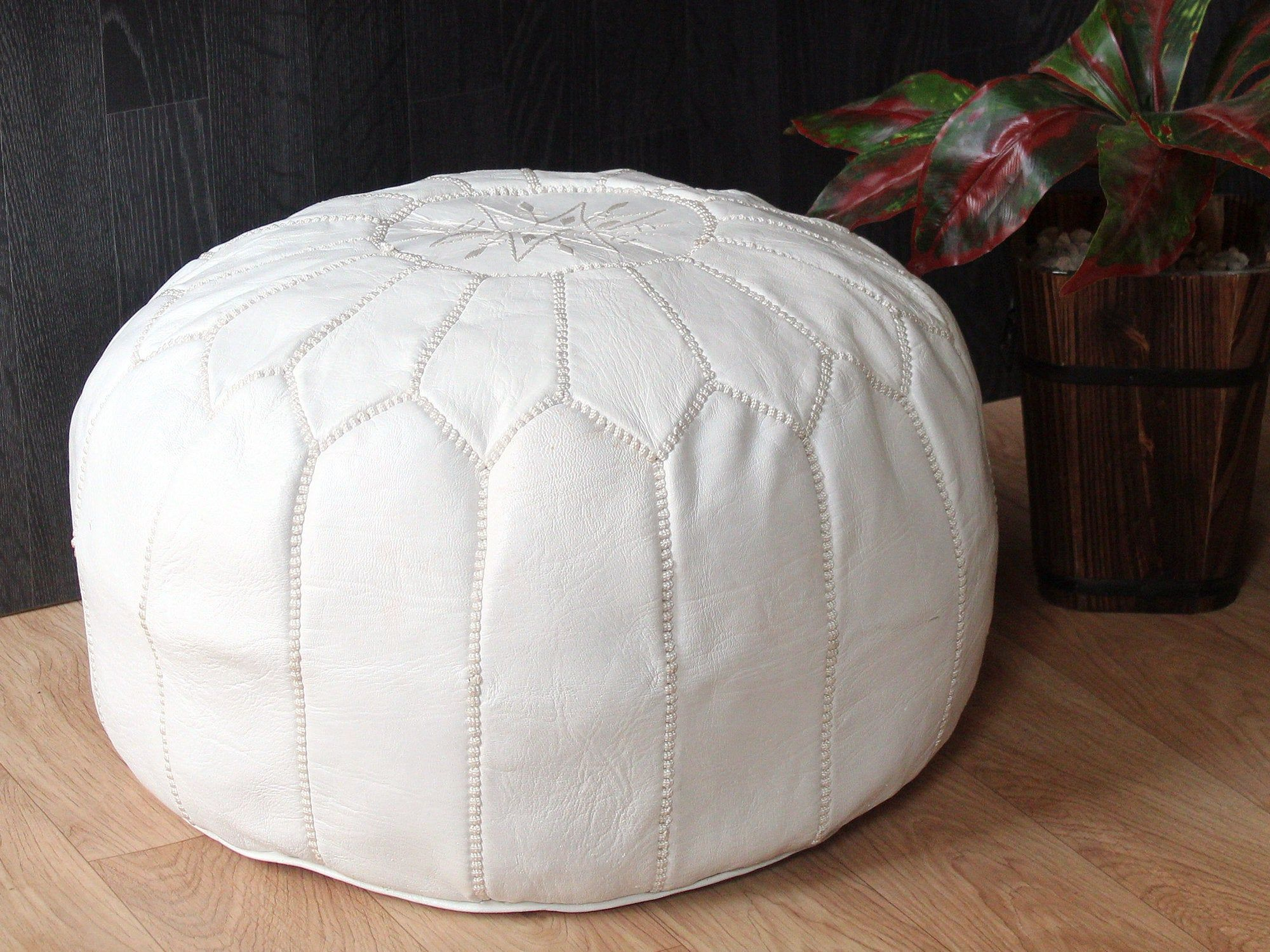 Pouf Ottoman Leather Moroccan Pouf Footstool Ottoman Pouf Leather Pouf Handmade Pouf Leather White Pouf Leather Chair Pouf Ottoman Leather Pouf Pouf Footstool
