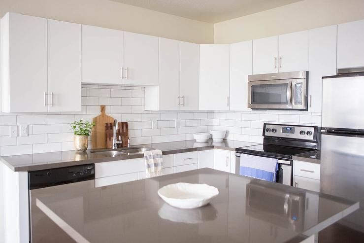 Best Lovely Kitchen Features White Flat Front Cabinets Paired 640 x 480