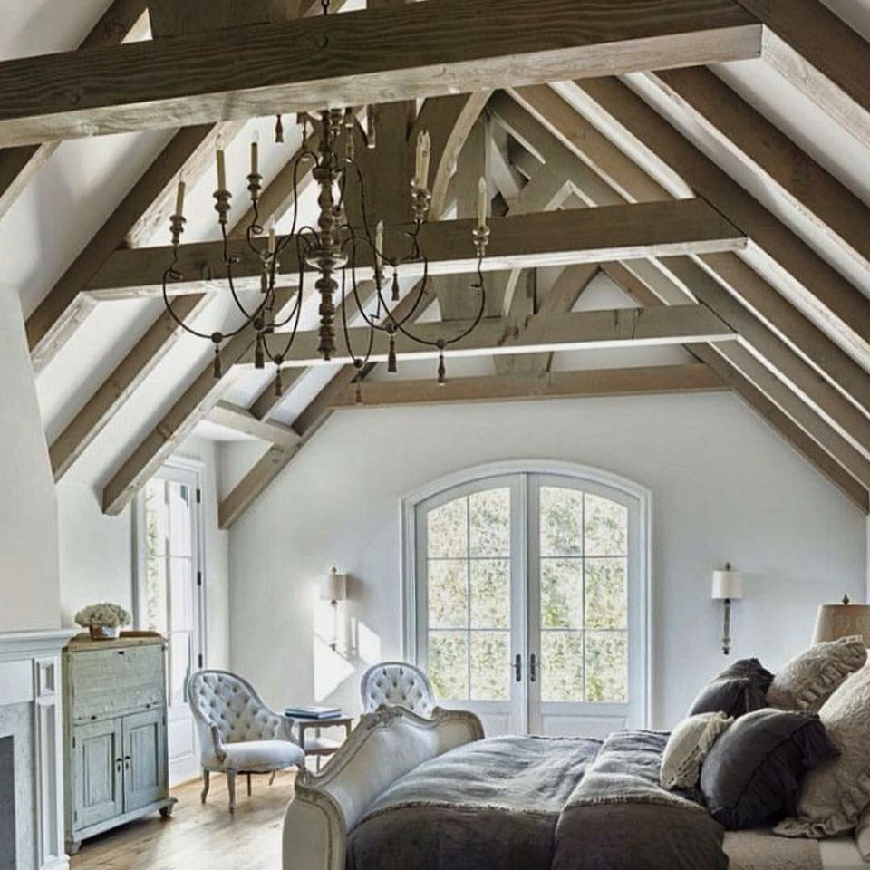 Love this room and the gorgeous rafters.