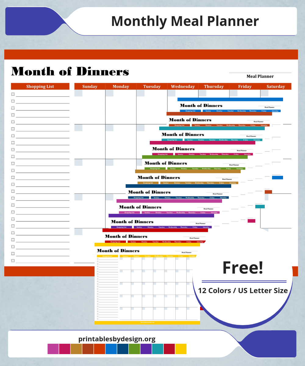 monthly meal planner meal planners pinterest meal planner
