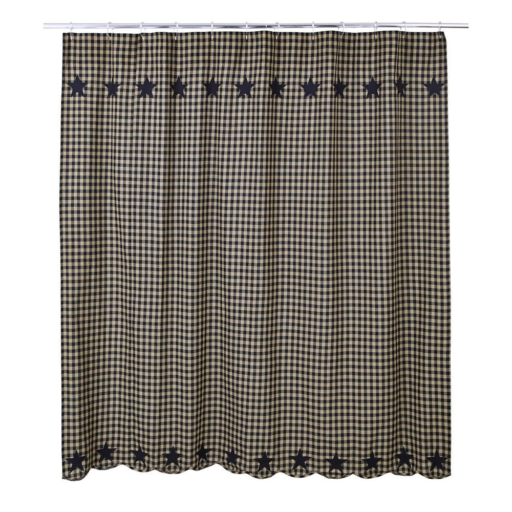 New Primitive Country Folk Art Black Tan Check Star Fabric Shower Curtain Country With Images Cotton Shower Curtain Primitive Bathrooms Shower Curtain