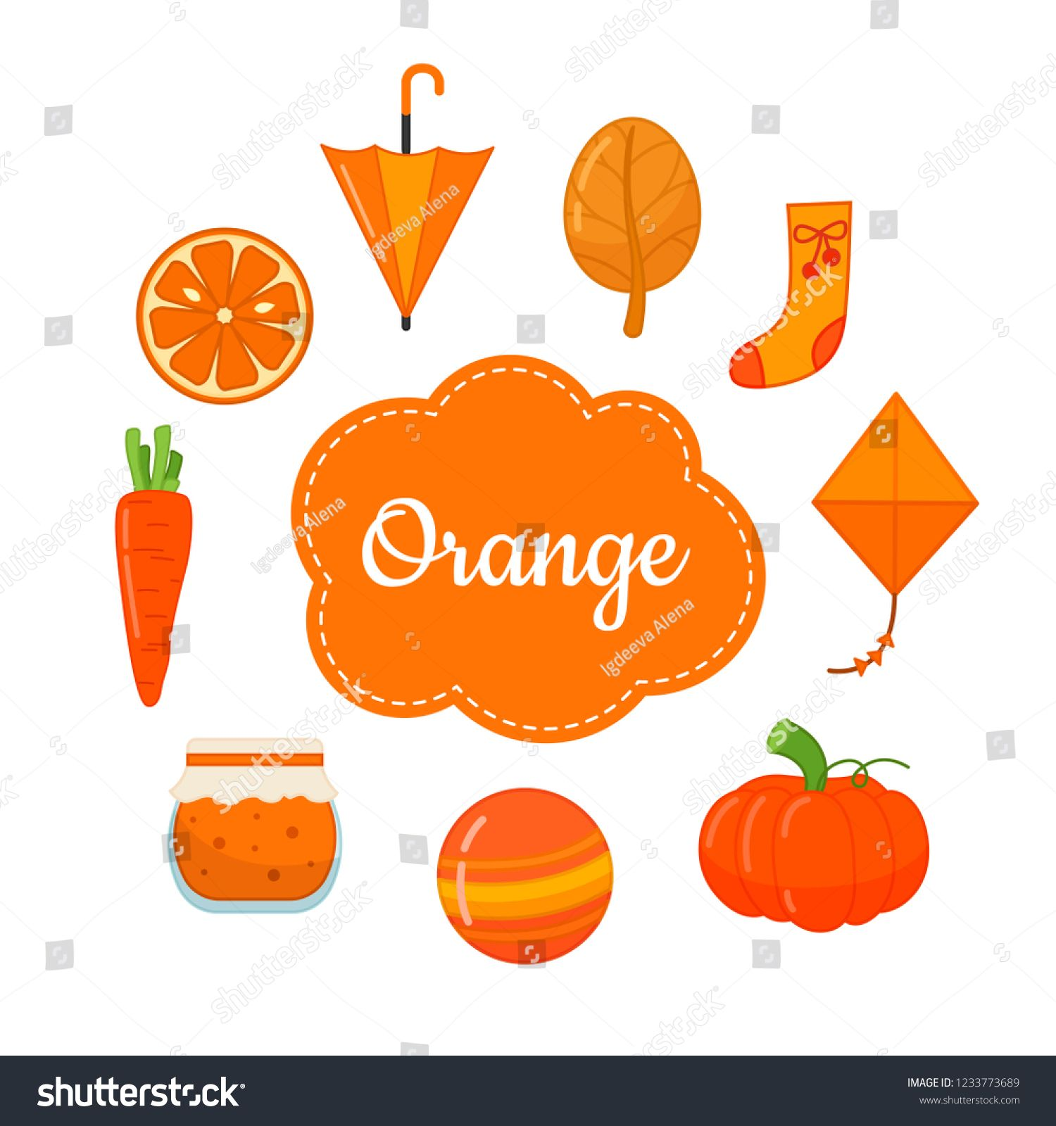 Learn The Primary Colors Orange Different Objects In