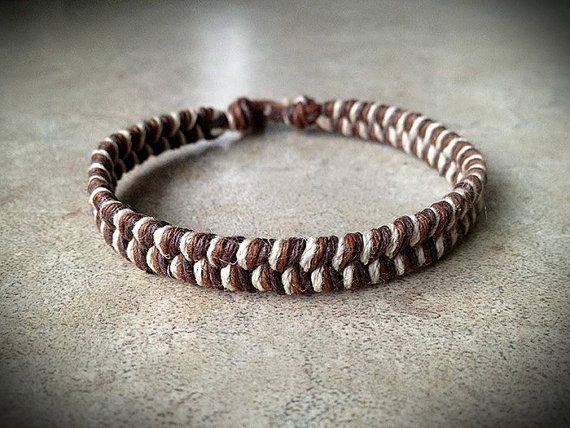 Earth Tones Natural Thick Hemp Bracelet on Etsy, $7.25