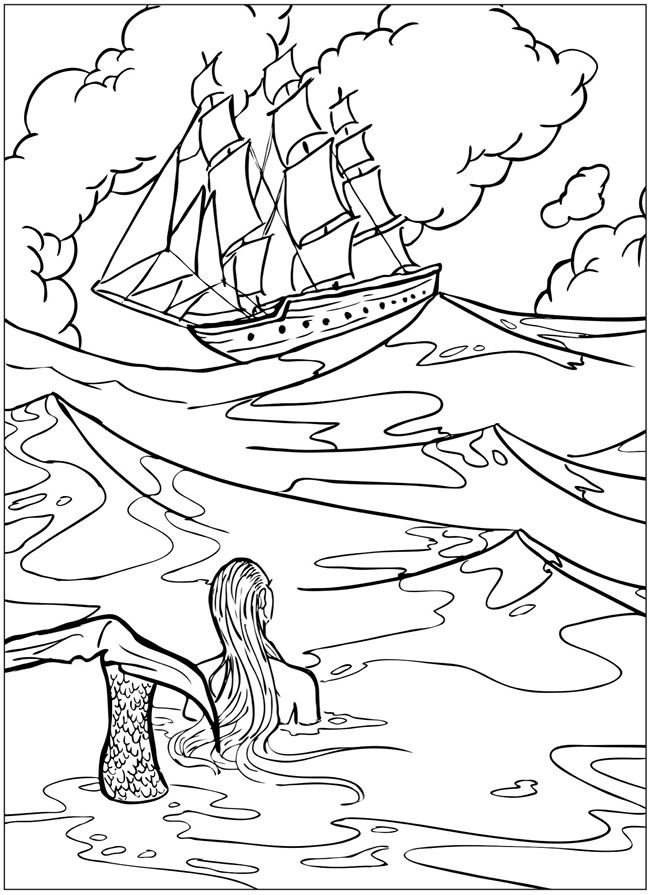 Welcome to Dover Publications 3-D Coloring Book--Mermaids | Kids ...