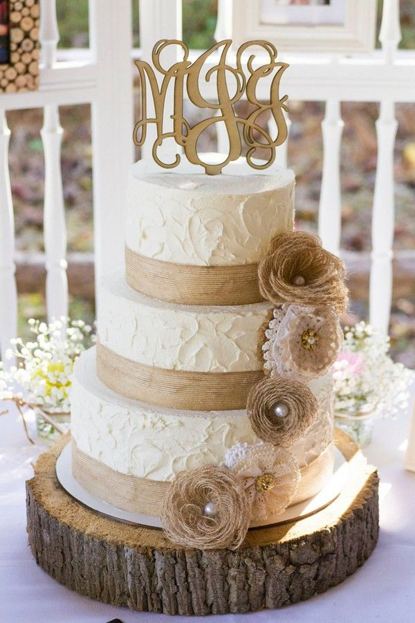 Lace And Burlap Rustic Wedding Cake Ideas