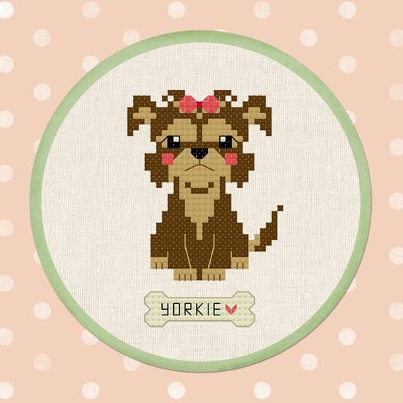 An adorable Yorkie Cross Stitch Pattern. Turn this lovely pattern into fantastic and ...