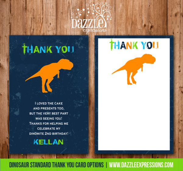 Dinosaur Birthday Invitation 1 Thank You Card Included Dinosaur Birthday Invitations Dinosaur Theme Party Dino Birthday Party