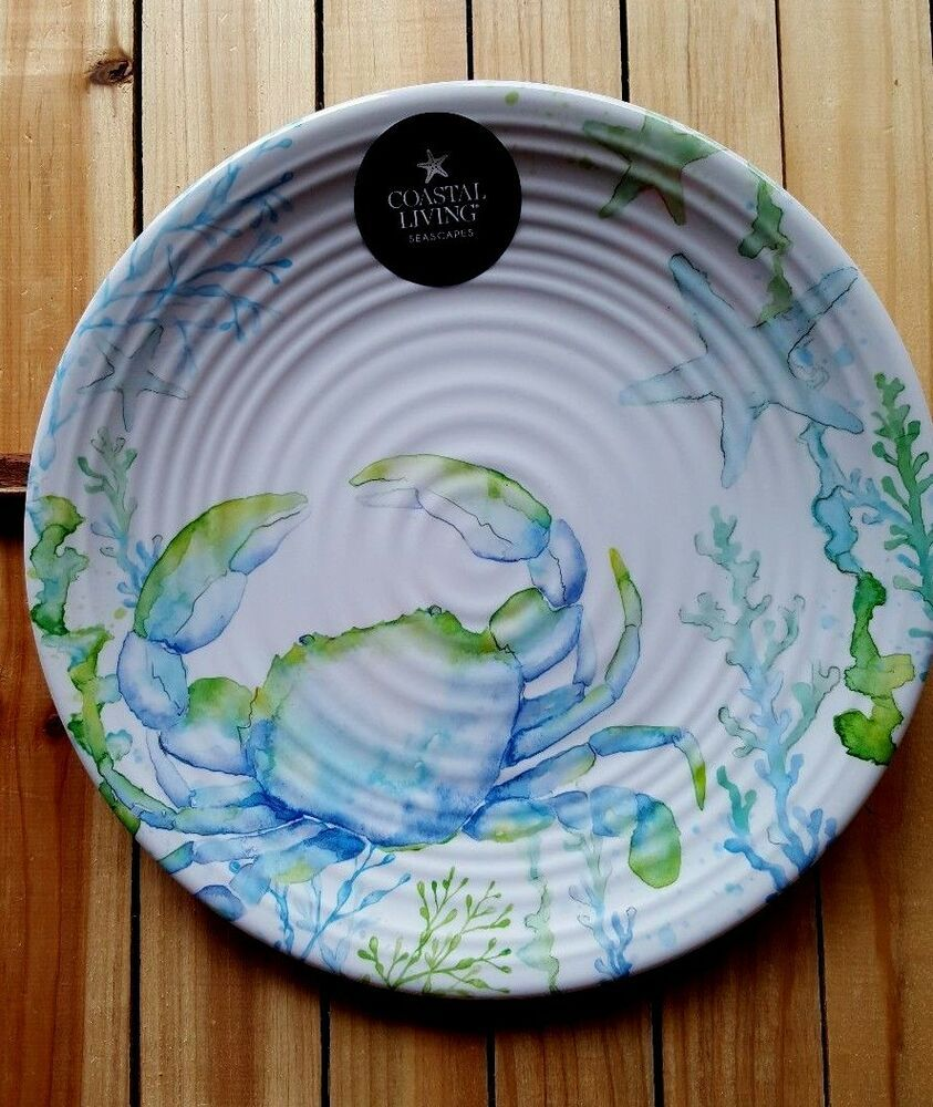 Nautical Marine Seahorse By Corals Abstract Art Blue Large Dinner Plate Set Of 2