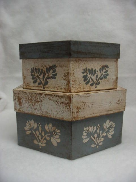 Primitive Country Stacking Boxes by TheSpeckledCrow on Etsy, $12.00