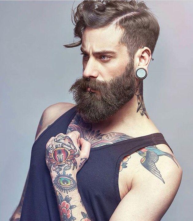 Wild Hairstyles, Beard Styles, Big Beard, Sexy Beard, Bearded Men, Hairy Men,  Tattoos, Color, Hipster Beards