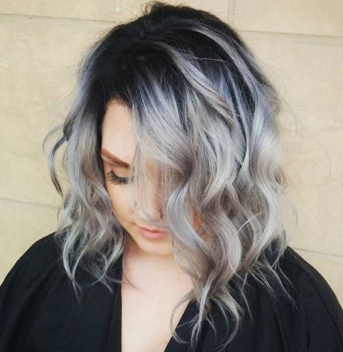 Gray Hair With Black Roots Google Search Hair Makeup
