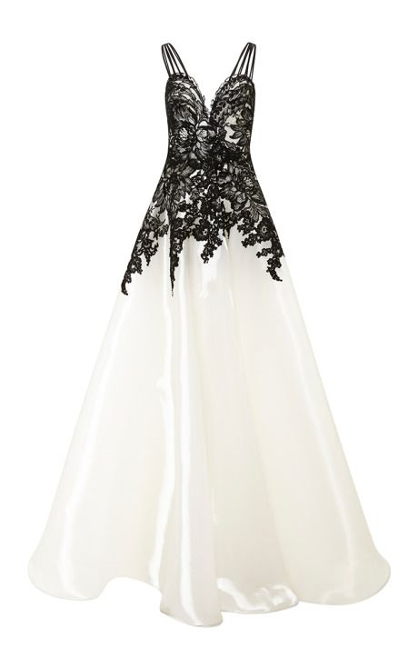 Liquid Organza Gown With Lace Applique by Naeem Khan for Preorder on Moda Operandi
