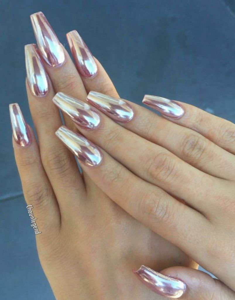 The Bizarre Secret Of Rose Gold Acrylic Nails Coffin Long 211 With Images Rose Gold Metallic Nails Chrome Nails Designs Pink Chrome Nails