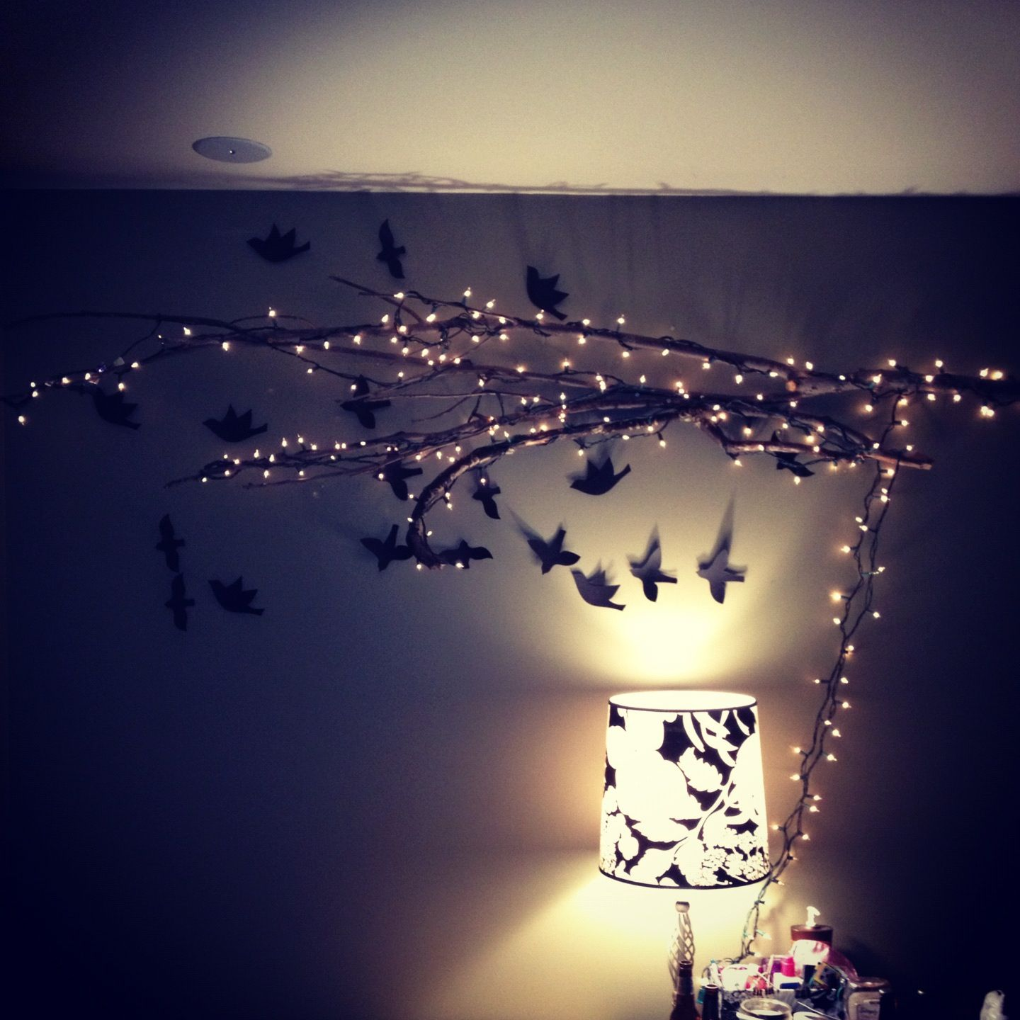 Tree branches and Christmas lights! Tree branch wall