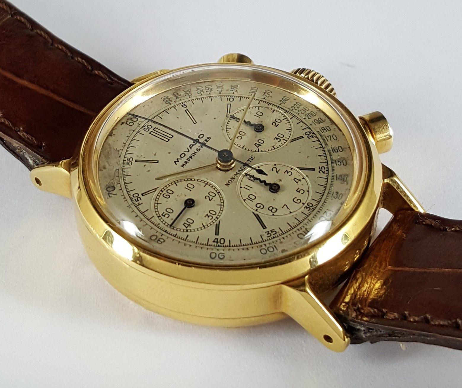 Movado non magnetic chronograph 1940s movado movadowatch chronograph antimagnetic for Magnetic watches
