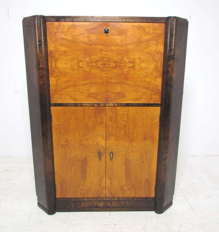 French Art Deco Burl Wood Lighted Bar Corner Cabinet