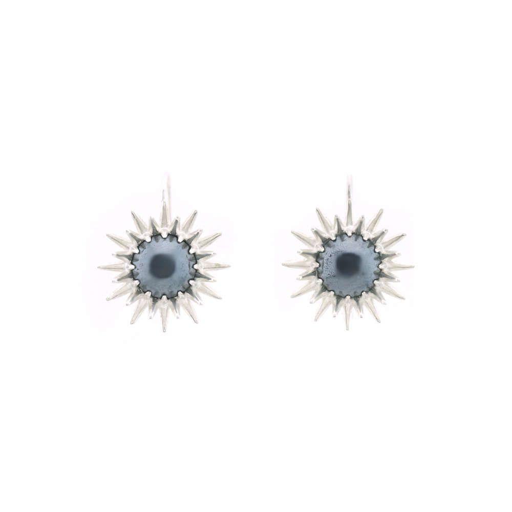 Hematite 925 Silver Drop earrings, statement earrings, sunburst earrings, large drop earrings, edgy modern metallic drops, fancy, dressy by ParkFordJewelry on Etsy