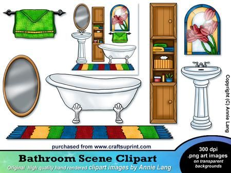 Photo Of Bathroom Scene Clipart on Craftsuprint designed by Annie Lang Designed and hand rendered Bathroom Scene