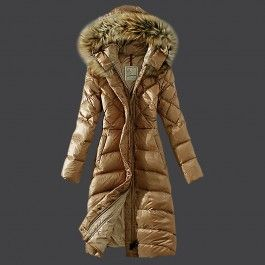Khaki Moncler Women Long Down Puffer Coats Diamond Quilted Hooded Windproof  New 2013 There are so