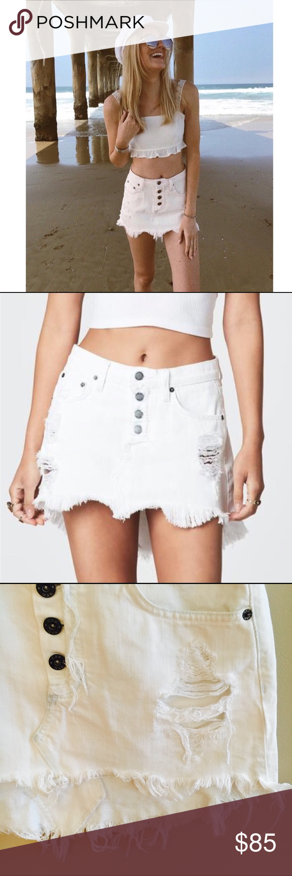 58edc063e3 LF Carmar White Distressed High Low Denim Skirt This little high waisted  skirt is so girly and flirty! Perfect for a day at the beach, festival  season, ...