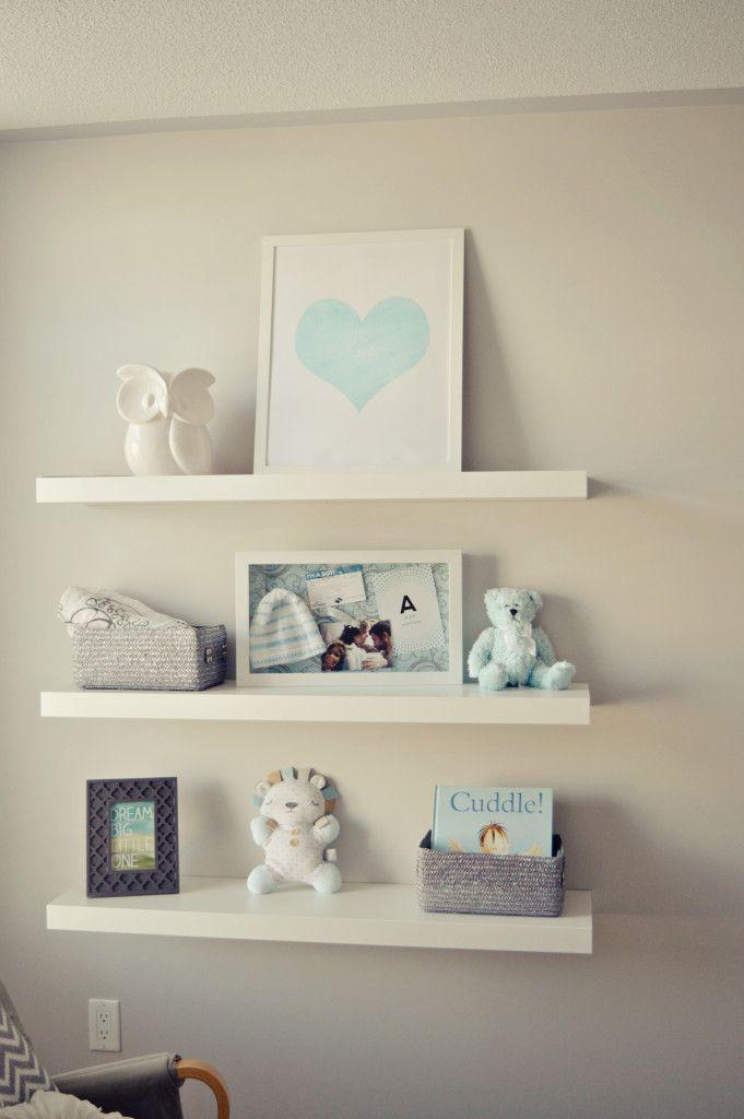 Contemporary Grey And White Nursery Nursery Shelves Nursery Shelf Decor Grey Nursery Boy