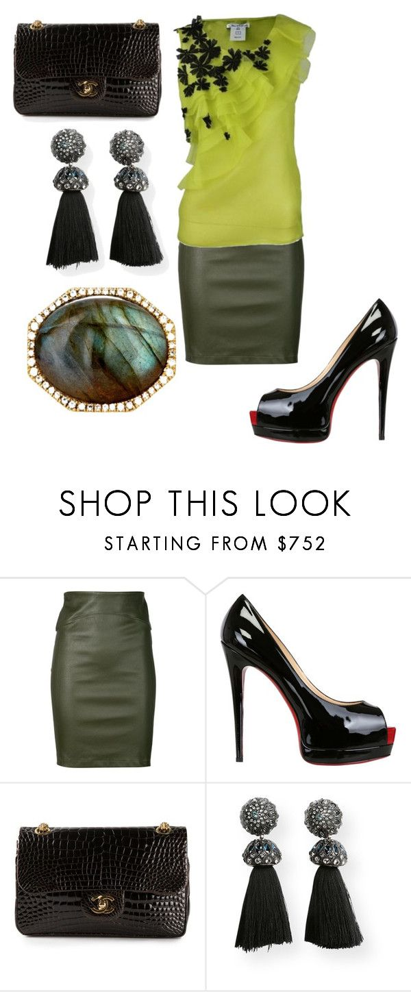 """""""Untitled #25537"""" by edasn12 ❤ liked on Polyvore featuring Getting Back To Square One, Oscar de la Renta, Christian Louboutin, Chanel, Lanvin and Monique Péan"""