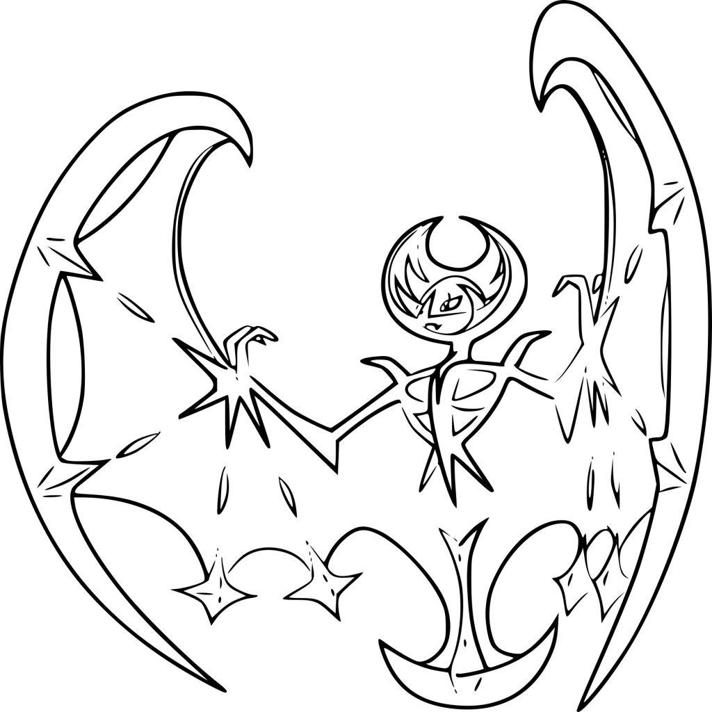 Coloriage Lunala Pokemon Legendaire A Imprimer En Ce Qui Concerne