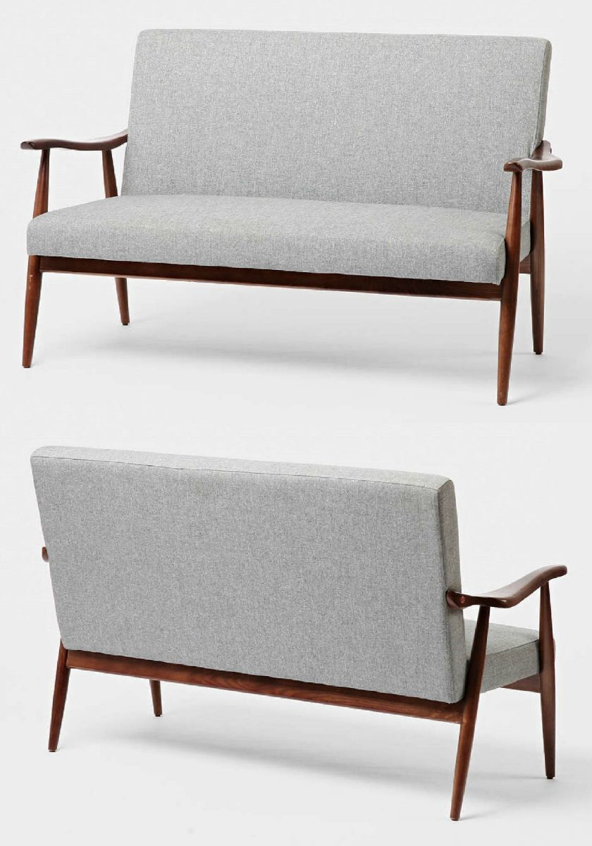 This is a unique loveseat and is elegant in every way with its curved wooden frame features tweed upholstery perfect addition for the mid century modern