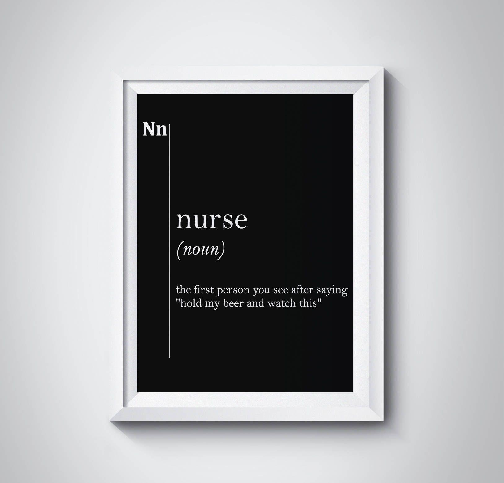 Nurse Definition Print Gift For Nurse Graduation Office Wall