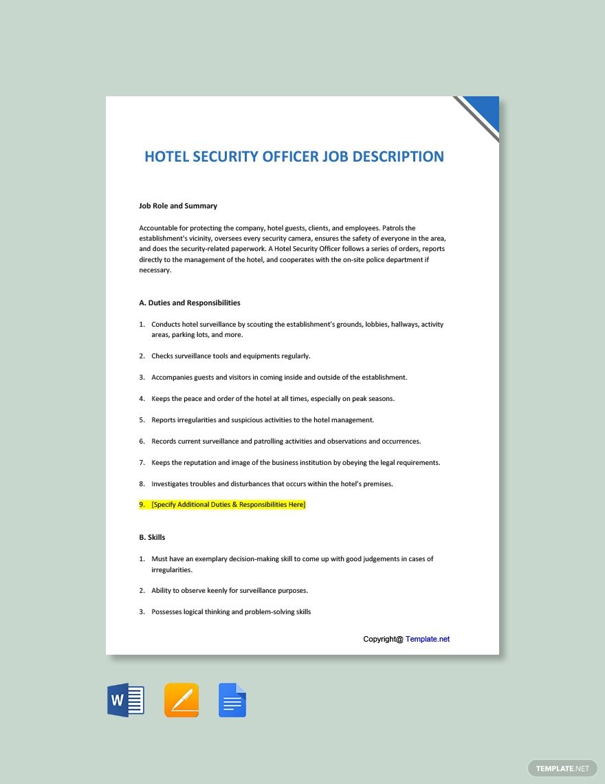 Free Hotel Security Officer Job Description Template in