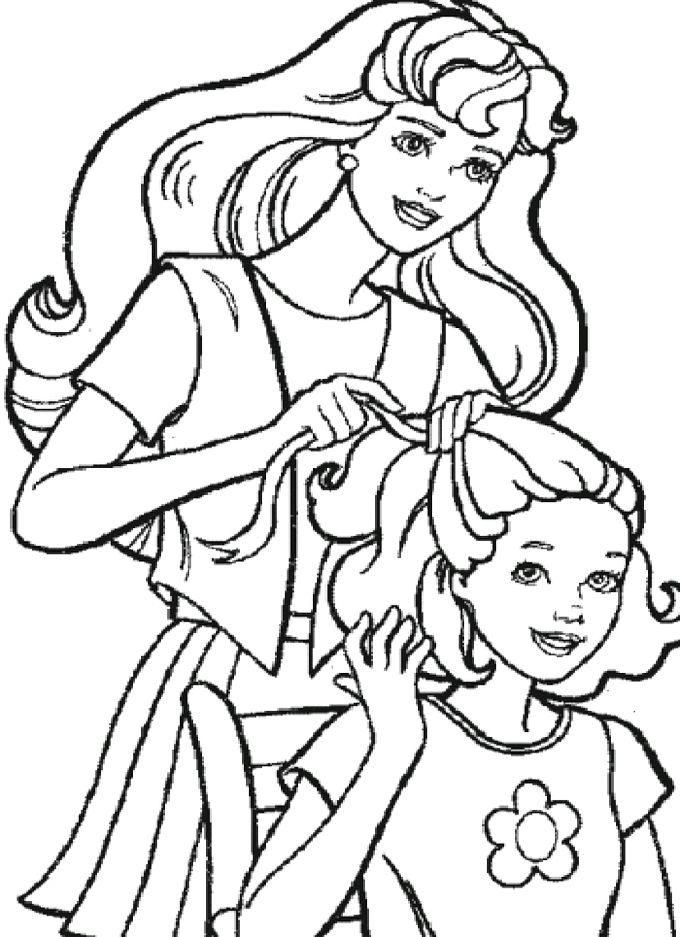 Hairdo Barbie Friends Coloring Pages
