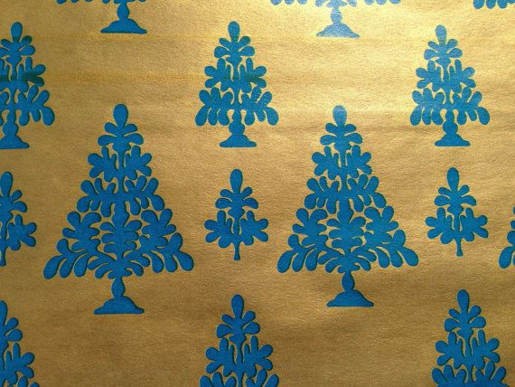 Vintage Christmas Gift Wrapping Paper - Blue Floral Christmas Trees