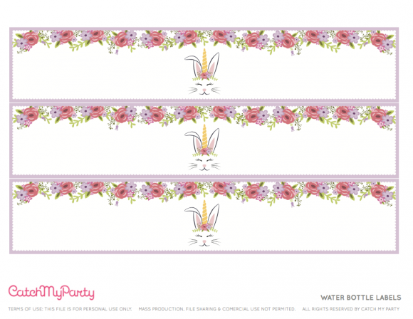 Free Easter Bunny Unicorn Party Printables Water Bottle Labels