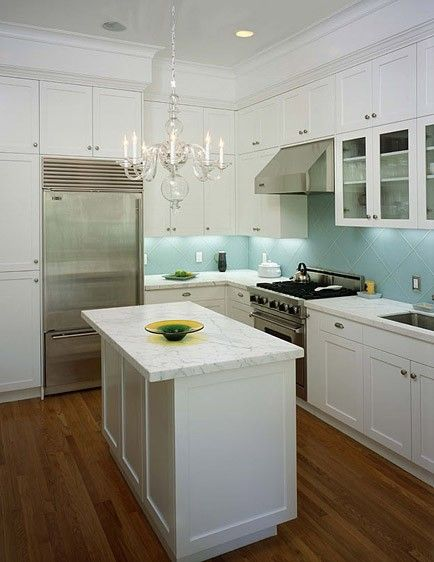 Small Modern Kitchen - could work by converting island to bar area ...