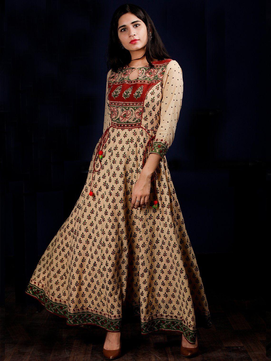 22b3a4aeb05168 Beige Rust Green Black Hand Block Printed Long Cotton Kali Dress With  Tassels - DS58F001